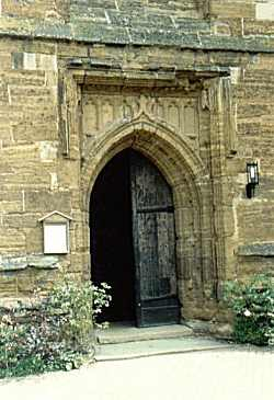 The door to the ancient St. Lawrence Parish Church in Towcester where Thomas Lord and his family were baptized and worshipped (photo by Phil Lord, 1993).