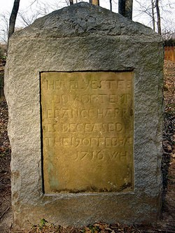 Temperance (Overton) Harris grave marker - Hers may be the earliest known grave site in Hanover County, Virginia.