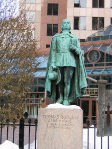 """Thomas Hooker (1586-1647), not a direct ancestor. Inscription on the East Elevation: """"Leading his people through the wilderness, he founded Hartford, in June 1636. Two years later he preached the historic sermon, which inspired the Fundamental Orders, and sowed the seeds of free Constitutional government in America."""""""