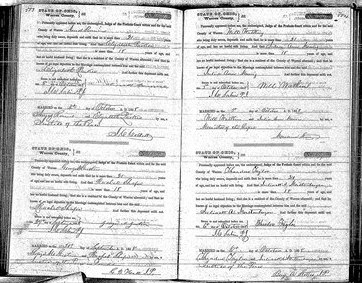 Marriage Record of William Watkins & Julia Ann Morris (upper right record), Warren County, Ohio