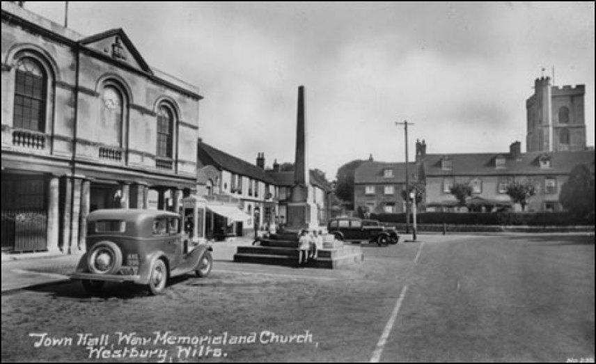 Westbury Town Hall, War Memorial & Church (1930s, photo courtesy of Westbury Visitor Centre1 High Street, Westbury)
