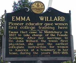 Historical marker in Middlebury, Vermont