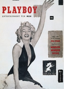 First issue of Playboy magazine (Dec 1953), featuring a black-and-white photo of Marilyn Monroe in a dress to make it interesting promising inside full-color pictures of her nude.