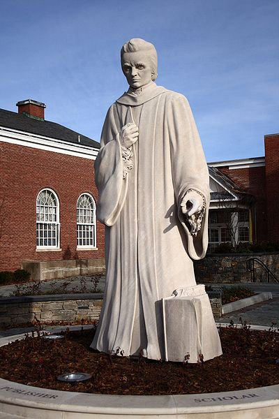 A 1932 statue of Webster by Korczak Ziółkowski stands in front of the public library of West Hartford, Connecticut.