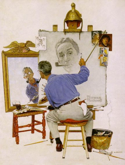 """Norman Rockwell """"Triple Self Portrait"""" appeared on the cover of The Saturday Evening Post, 13 Feb 1960"""