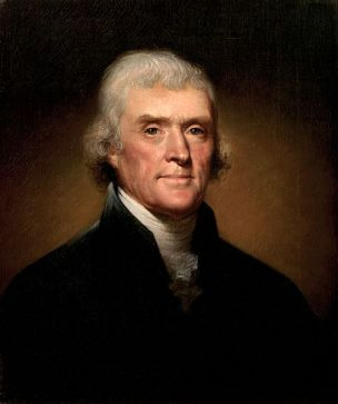 Thomas Jefferson, 3rd President of the United States (painting by Rembrandt Peale, 1800)