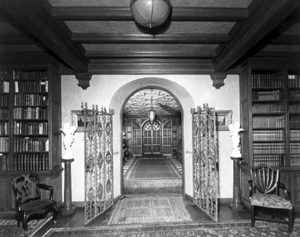 Looking from library into main hall