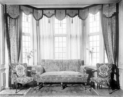 Drawing room bay window and furnishings