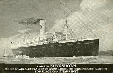 This is a postcard from the 1923 voyage of the Kungsholm, on which my paternal grandfather arrived in America. The 1901-built S.S. Noordam was chartered by Swedish American Line (Swedish: Svenska Amerika Linien) from Holland America Line as S.S. Kungsholm from 27 Feb 1923 until 18 Dec 1924.