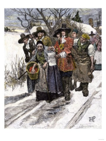 """""""Arresting a Witch"""" - A generic scene that shows a woman being arrested for witchcraft, depicted conventionally as an old hag by the famous illustrator Howard Pyle."""