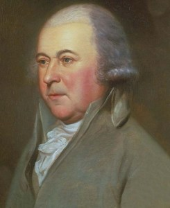 John Adams (portrait by Charles Willson Peale) was opposed to Hutchinson's ascent to the highest judicial post in the province.