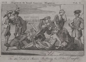 Engraving by Paul Revere depicting British reaction to the Boston Tea Party
