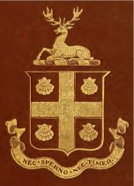 """The Cogswell Arms & Crest, reproduced on the cover of """"The Cogswells in America"""" by E.O. Jameson (1884)"""