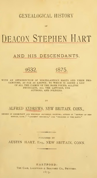 Genealogical History of Deacon Stephen Hart_title page