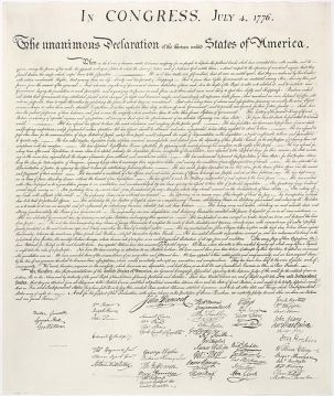 1823 facsimile of the engrossed copy of the Declaration of Independence of the United States (1776)
