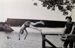 Roderick Watkins as a teenager (on right), son of Paul & Florence Watkins, swimming with friends near the Minne-o-wah club in Homer, Minnesota