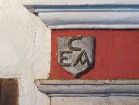 Initials for Edward & Alice Cogswell. Above the fireplace of there home (photo credit: Danette Percifield Cogswell, May 2013)
