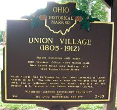 Sign marking the location of the Union village Shaker community, near where the Morris family made its home in Warren County, Ohio in the early 1800s (back), photo credit: Arne H. Trelvik; taken 4 Aug 2004