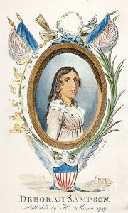Deborah Sampson, colorized etching dated 1797