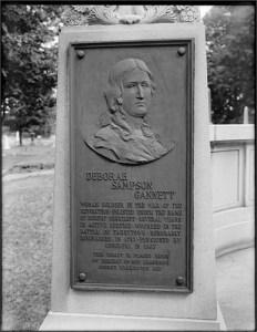 Deborah Sampson Gannett memorial plaque at Rock Ridge Cemetery, East Street and Mountain Street, Sharon, Massachusetts