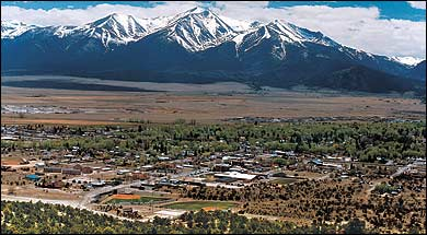 """Buena Vista is located in central Colorado roughly midway between Salida and Leadville in the Upper Arkansas River Valley at an elevation of about 8,000 feet. The town lies at the base of the """"Collegiate Peaks"""": Mt. Princeton, Mt. Yale, Mt. Columbia and Mt. Harvard, of the Sawatch Range."""