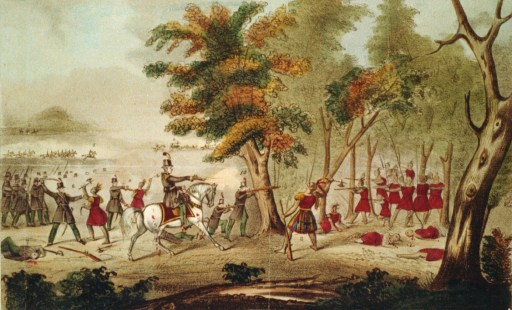 Battle of the Thames and the death of Tecumseh, by the Kentucky mounted volunteers led by Colonel Richard M. Johnson, 5 Oct 1813. Lithograph, hand colored (1833).