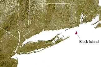 Block Island, shown in red, off the coast of the State of Rhode Island. The island is part of Washington County, Rhode Island and is coextensive with the town of New Shoreham.