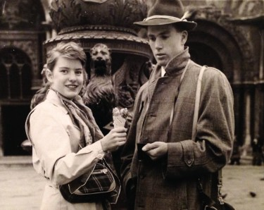 Penny & Rusty Walholm in front of St. Mark's Cathedral, Venice, Italy (Spring 1954)