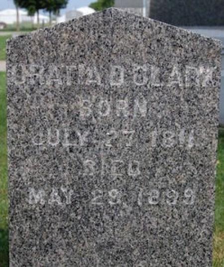 Oratio Dyer Clark (1811-1899), Oakland Cemetery, Manchester, Iowa (inscription spells his name ORATIA)