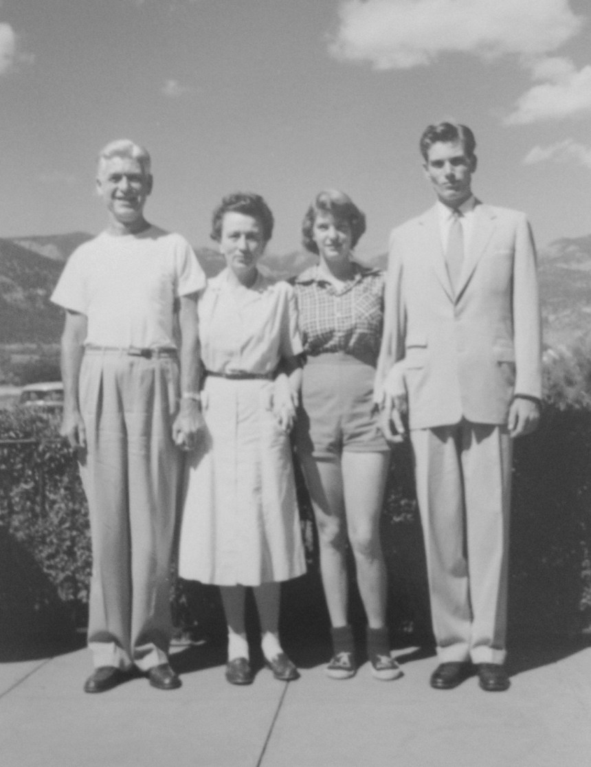 Roy W. Walholm, Florence Watkins Walholm, Penelope (Penny) Walholm, Roy (Rusty) Walholm (L--->R); at their home at 17 Marland Road, Colorado Springs, Colorado (taken August 1955).