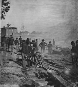 Sherman's men destroying railroad tracks in Atlanta, 1864 (Library of Congress; photographer: George N. Barnard, 1819-1902)
