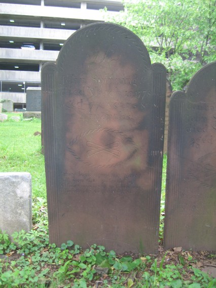 John Spinning (1698-1776) is buried in the First Presbyterian Churchyard (Elizabeth, New Jersey).