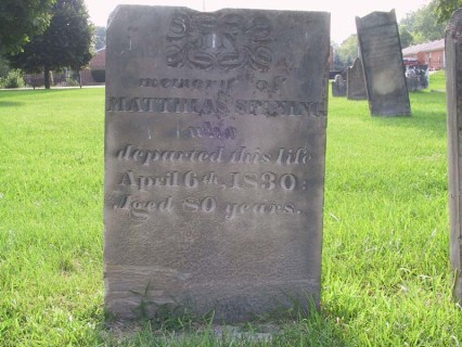 Mathias Spinning (1750-1830) is buried at the Pioneer (Methodist) Cemetery in Lebanon, Ohio.