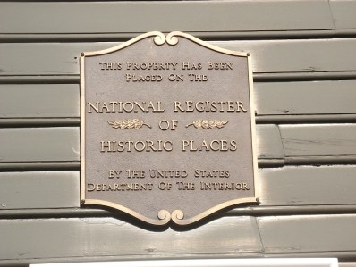 National Register plaque affixed to Gideon Cornell house in Newport, Rhode Island