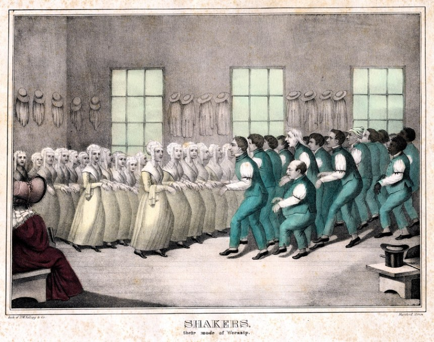 Shakers used dancing as part of their religious ritual. They did not follow set figures as did dancers of more mainstream dances but rather freely engaged in several distinctive moves, such as whirling and marching. The Shakers would whirl rapidly, propelling themselves in circles by having one foot continually stepping around the other. Much of the time the whirling would continue for ten or fifteen minutes, though it was known in some instances to have lasted for up to forty-minutes. The Shakers believed that in order to obtain religious revelation one had to labor; part of this endeavor involved writhing and twirling of the body. Though seemingly eccentric, this ritual was a key part of Shaker religious culture.