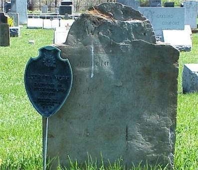 Lucretia Minor York (1733-1821); inscription on stone is very hard to read. Wyalusing Cemetery, Wyalusing, Bradford County Pennsylvania (photo credit: Bill Klauk)
