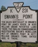 Swann's Point historical marker (Virginia K231) - Location: 37° 9.949′ N, 76° 58.408′ W. Marker is in Spring Grove, Virginia, in Surry County at the intersection of Colonial Trail West (Virginia Route 10) and Swanns Point Road (Virginia Route 610), on the right when traveling east on Colonial Trail West. (photo credit: Laura Troy, 2007)