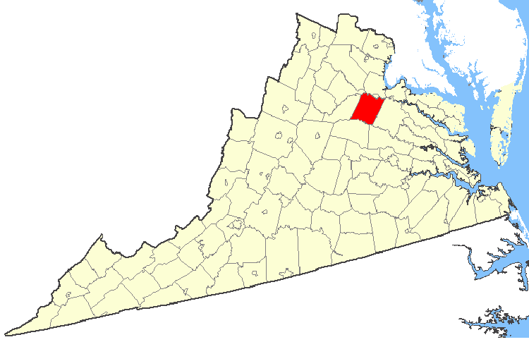 Spotsylvania County is indicated in RED on this map of Virginia. The community of Partlow is located in the extreme southern portion of the county.