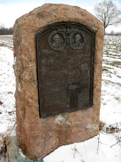Commemorative plaque erected by the state of New York in 1929 of The Sullivan Expedition depicting the routes of the armies of General John Sullivan and General James Clinton. Photo credit: Brian Adler (3 Jan 2009).