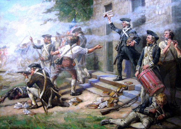 The Battle of Springfield. Paining by John Ward Dunsmore (d. 1945) - original is in Fraunces Tavern, New York City.