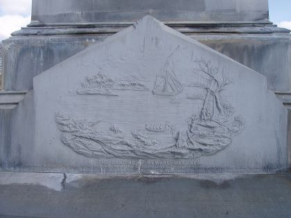 """""""Puritan landing in May 1666, at Newark, New Jersey, United States"""" - Settlers Monument, Fairmont Cemetery, Newark (photo credit: dinopup, Jan 2005)"""