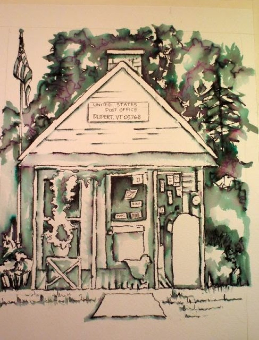 Rupert, Vermont Post Office, drawing in Ink with an Elegant Writer pen (Ginny Stiles)