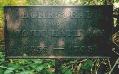 Plaque at the homestead site of John Hathway, showing the years he lived there (photo credit: Randall Younker, 2011)