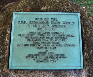 Plaque located at the iron works site, Raynham, Massachusetts. From Wikipedia.