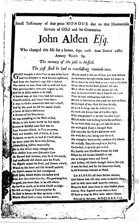 John Alden broadside - printed at the time of his death