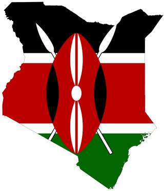 Flag pf Kenya, superimposed on a map of that country