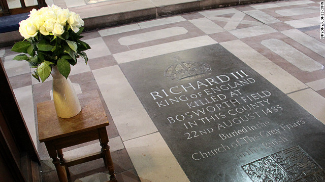 White roses at the memorial to Richard III in Leicester Cathedral.