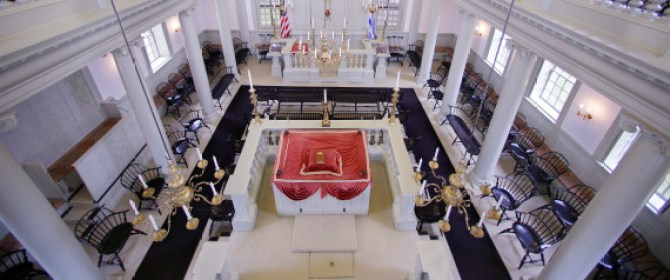 "Touro Synagogue, the nation's oldest, is seen from the ""ladies gallery"" in Newport, Rhode Island.(AP photo / Stephan Savoia, 28 May 2015)"