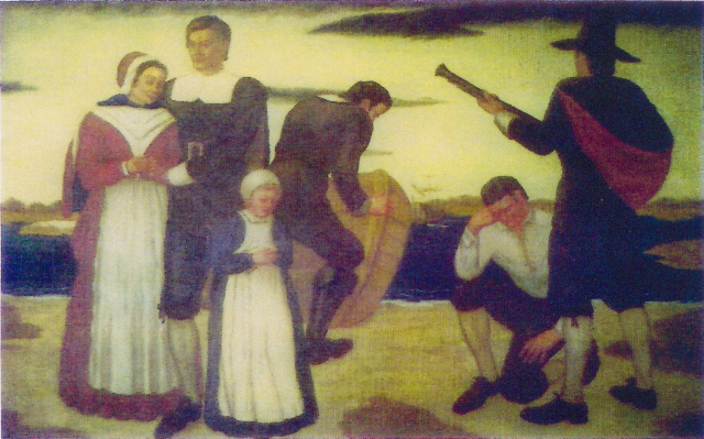 """Stratford Artist William McCracken painted the mural, """"The Arrival of the Founders"""", shown at the left, for the Stratford Town Hall Council Chambers in 1936 as part of a WPA project. Mr. McCracken taught painting classes at the Sterling House during this period of time."""