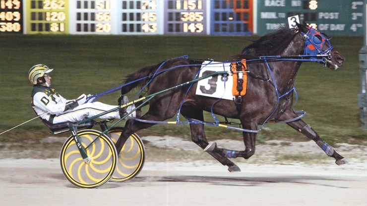 Excelerated Speed winning a race at Maywood Park on September 26, 2013